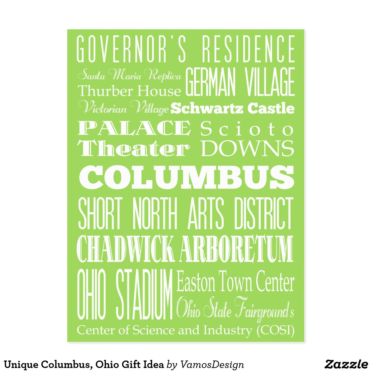 Unique Columbus Ohio Gift Idea Postcard Zazzle