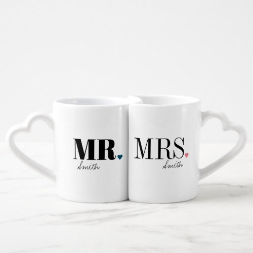 Unique simple personalized Mr and Mrs mugs
