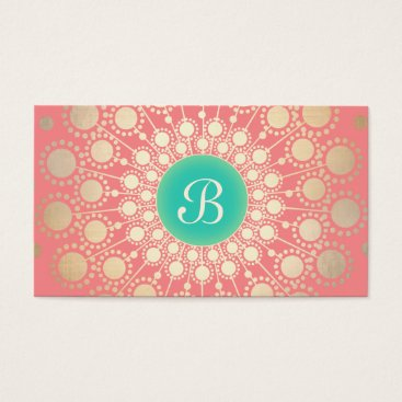 Unique Turquoise, Gold, Pink Coral Monogram Business Card