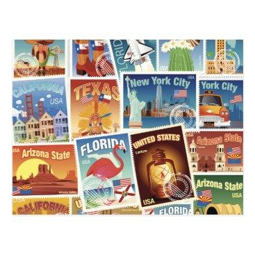 United States Postage Stamps Postcard