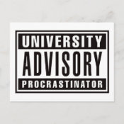 University Advisory Procrastinator Postcard