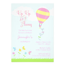 Up up and away hot air balloon girl birthday party custom invite