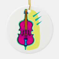 Upright Bass Purple Abstract Graphic Image Christmas Tree Ornaments