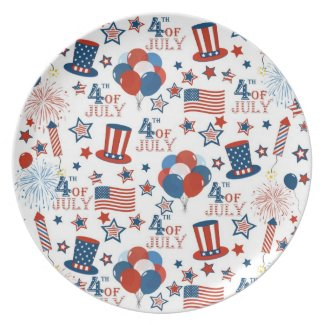 USA 4th of July Symbols Dinner Plate