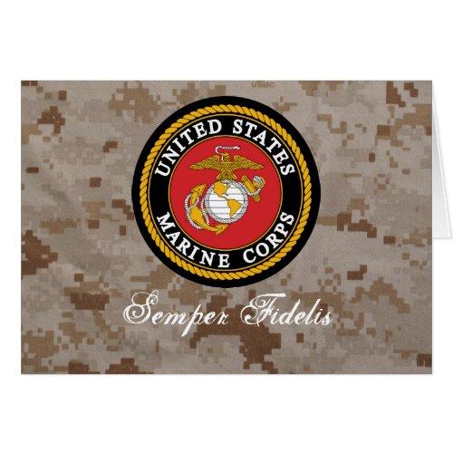 USMC Digital Camo Semper Fidelis Card