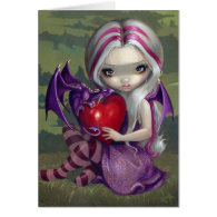 Valentine Dragon gothic fairy Card