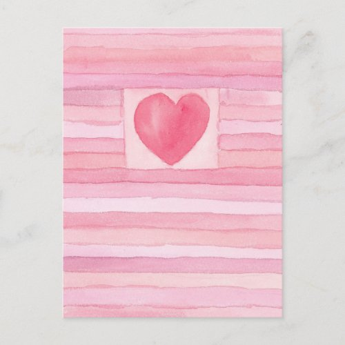 Valentine Hearts and Stripes Pastel Pink Holiday Postcard