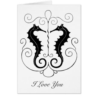 Valentine Seahorses Greeting Card
