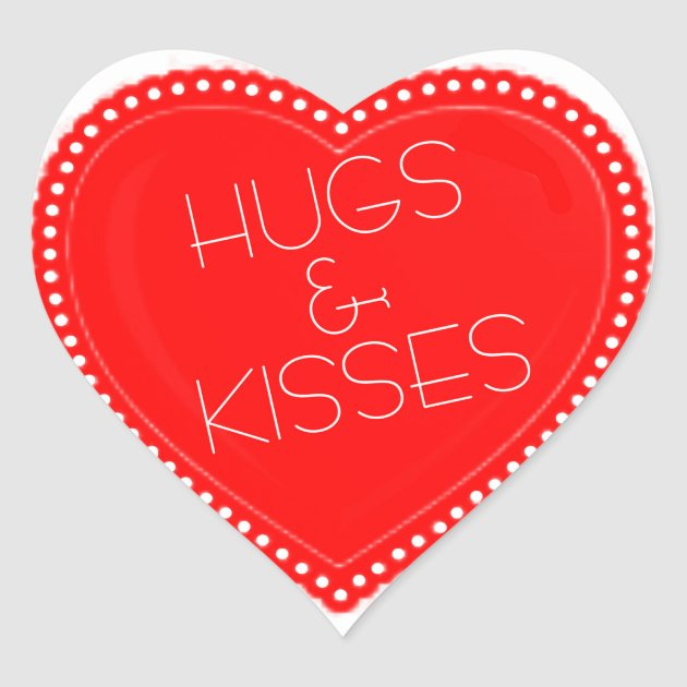 Valentines Day Hugs And Kisses Heart Heart Sticker