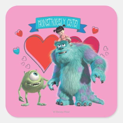 Valentines Day Monsters Inc Square Sticker Zazzle