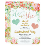 Valentines floral little sweetheart gender reveal invitation