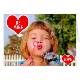 Valentines Girl Blowing Bubbles photo paint Card