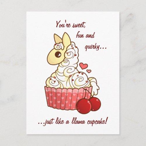 Valentine's Llama Cupcake Holiday Postcard