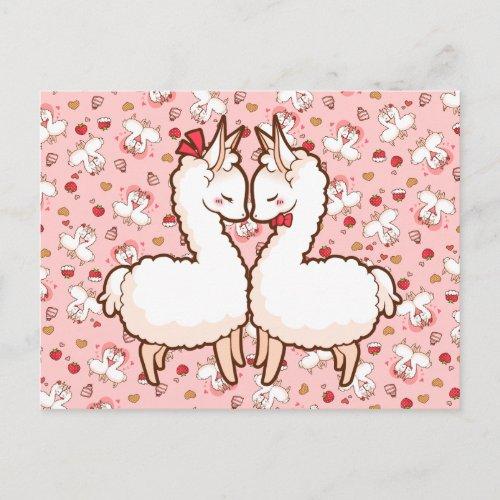 Valentine's Love Llamas Holiday Postcard