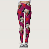 Valentine's Poodle puppy hearts dog art leggings