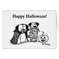 Vampug and Mummy Pug Halloween Card