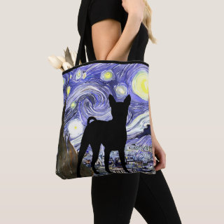Van Gogh Starry Night With Basenji Dog Tote Bag