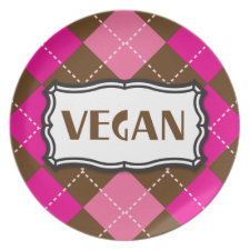 Vegan Pride Pink Brown Argyle plate