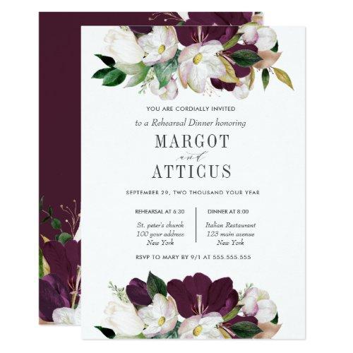 Velvet Magnolia Flower Wedding  Rehearsal Dinner Invitation