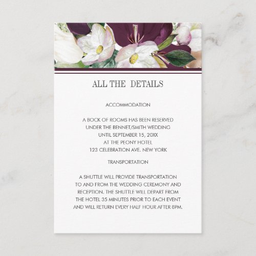 Velvet Magnolia Modern classic wedding details Enclosure Card