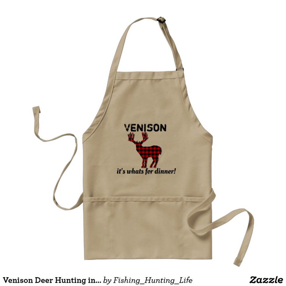Venison Deer Hunting in Plaid Adult Apron