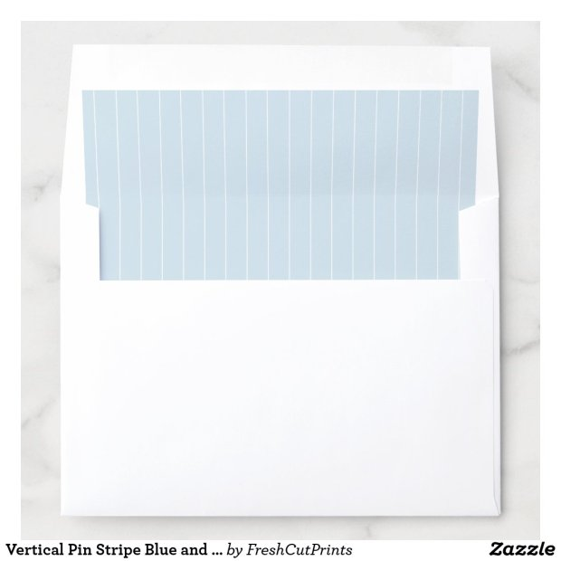 Vertical Pin Stripe Blue and White Envelope Liner