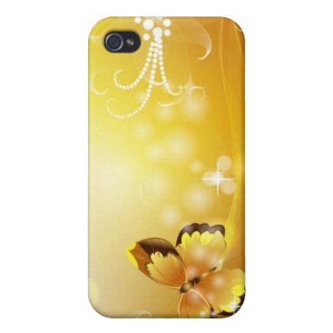 Very Yellow, Butterfly and Bubbles iPhone 4/4S Cover