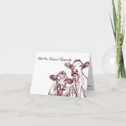 Veterinarian Sympathy Card Livestock Cow