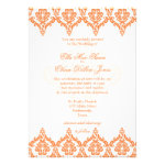 Vibrant Orange and White Damask Wedding invitation