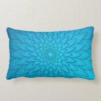 Vibrant Turquoise Blue Flower Lumbar Pillow | Zazzle.com