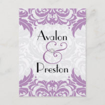 Victorian Baroque Violet Save The Date Postcard