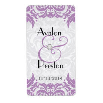 Victorian Baroque Violet Wine Wedding Label