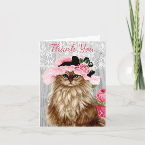 Victorian Cat in Hat with Lace Thank You Card