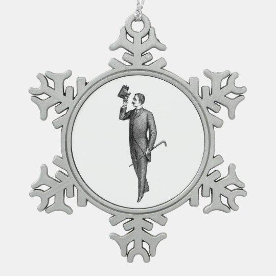 Victorian Gentleman Selfie Snowflake Pewter Christmas