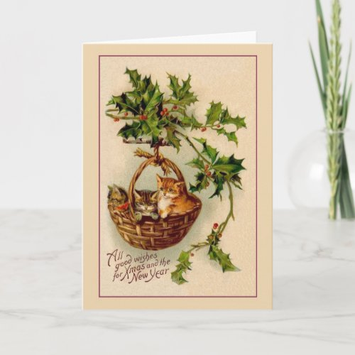 Victorian Kittens Christmas and New Year Card