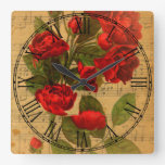 Victorian Music Sheet Watercolor Rose Wallpaper Square Wall Clock