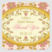 Victorian Pink Gold Favor Bridal Shower Stickers