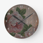 Victorian Roses Faded Faux Leather Rustic Girly Round Clocks