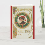 Victorian Santa Wreath Greeting Cards