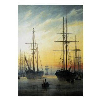 View of a Harbour - Caspar David Friedrich