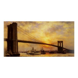 View of The Brooklyn Bridge by Emile Renouf Poster
