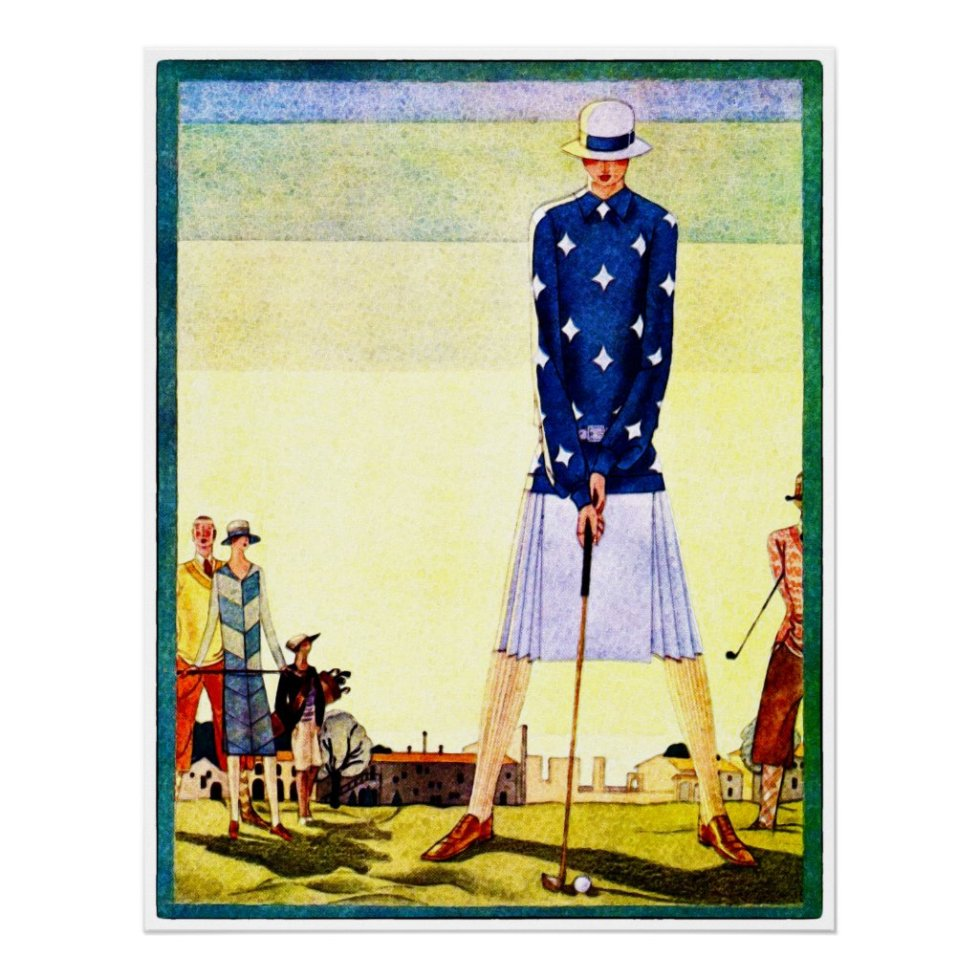 Vintage 1924 Golfing Watercolour Poster