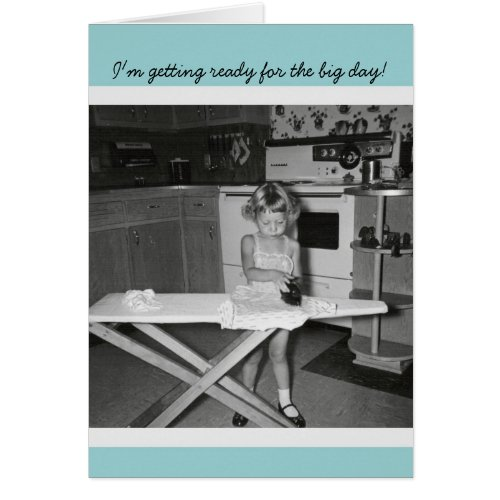 Vintage '50s Girl Ironing Congratulations Graduate Greeting Card