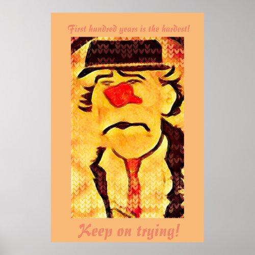 Vintage 70s Sad Clown Drawing (D1) Editable Poster