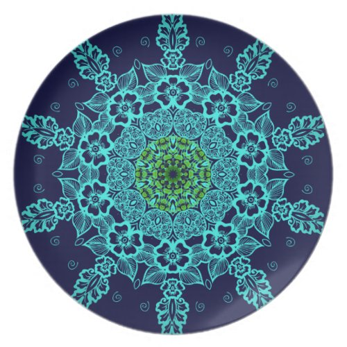 Vintage abstract mandala pattern plates fuji_plate
