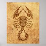 Vintage Aged Scorpio Zodiac Poster