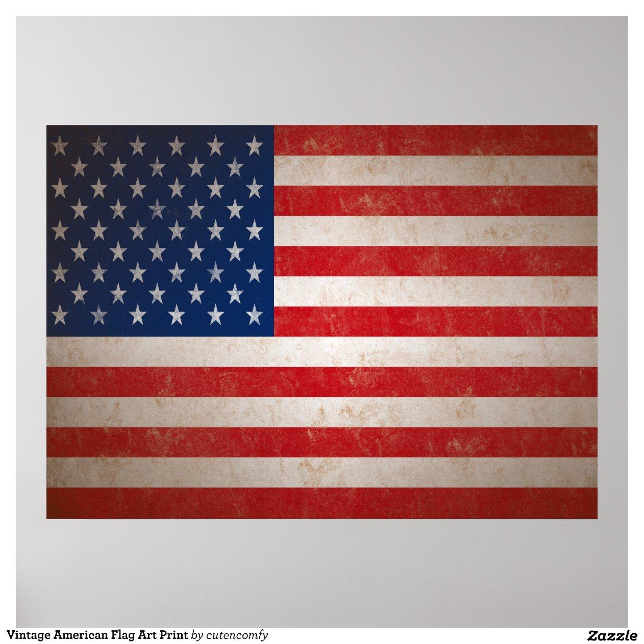 American Flag Vintage Print