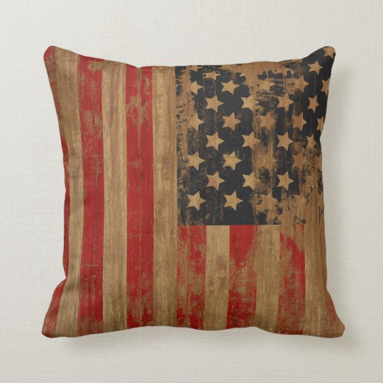 Vintage American Flag Pillows  Zazzle