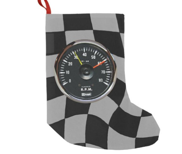 Vintage Analog Auto Tachometer Racing Small Christmas Stocking Zazzle Com