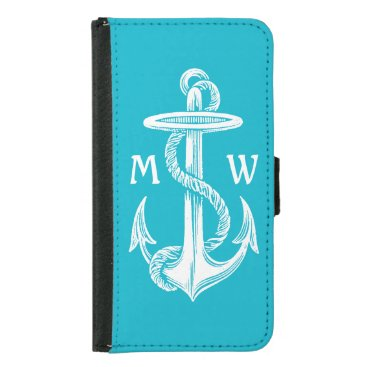 Vintage Antique White Anchor Turquoise Background Wallet Phone Case For Samsung Galaxy S5